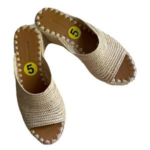 Carrie Forbes Natural Raffia Wedge Sandals - 5 NEW